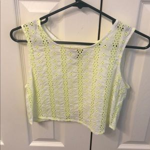 Lime green and white crop top!